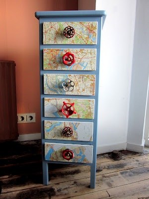 painted dresser, decoupage w/maps and add great industrial knobs