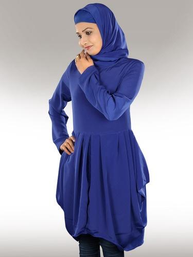 Casual Crepe Royal Blue Islamic Tunic Top For Women - MyBatua : MyBatua Modern Islamic Clothing Online, Best Muslim Clothing Online For Women  Casual Crepe Royal Blue Tunic, Latest! Style no: KRF-104 Shopping Link: http://www.mybatua.com/womens/islamic-kurtis-tunics/casual-crepe-royal-blue-islamic-tunic  Available Sizes XS to 5XL (size chart: http://www.mybatua.com/size-chart/#TUNIC/KURTI)  -Casual Wear -Designer Kurti with cowled bottom sides -Pleasts on waist line -Straight sleeves…