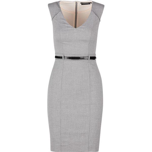 Washington City Suit Dress ($87) ❤ liked on Polyvore featuring dresses, structured dress, v neckline dress, v neck dress, v-neck dresses and panel dress