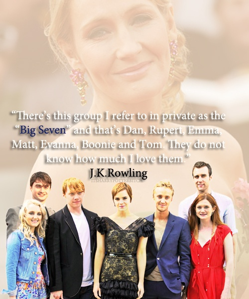 The big seven. Harry Potter, Ron Weasley, Hermione Granger, Luna Lovegood, Draco Malfoy, Neville Longbottom. <3 My loves.