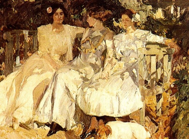 """Joaquin Sorolla """"My Wife and Daughters in the Garden""""  Lili, you know they're discussing how the yard got that way."""