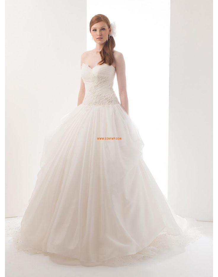 A-linje Court Släp Klassisk & Tidlös Billiga Bröllopsklänningar