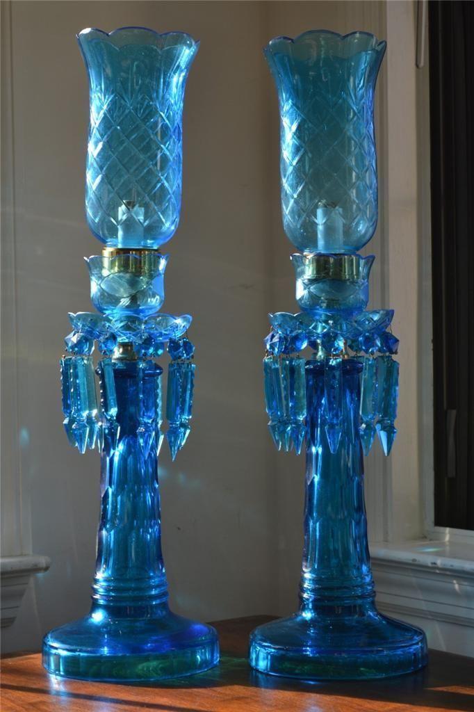 RARE 1800's European Antique Blue Hand Cut Glass Tall Hurricane Lamps Lamp Pair | eBay