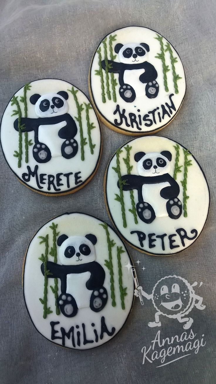 Name card cookies for someone who really like pandas