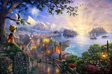Pinocchio - Pinocchio Wishes Upon a Star - Thomas Kinkade - World-Wide-Art.com #Disney #Kinkade