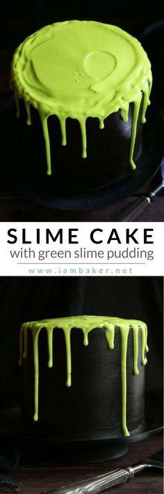 Learn how to make fun and easy halloween cake for kids with this ooey gooey Slime Cake with black magic buttercream! @iambaker #iambakerdessert #iambaker
