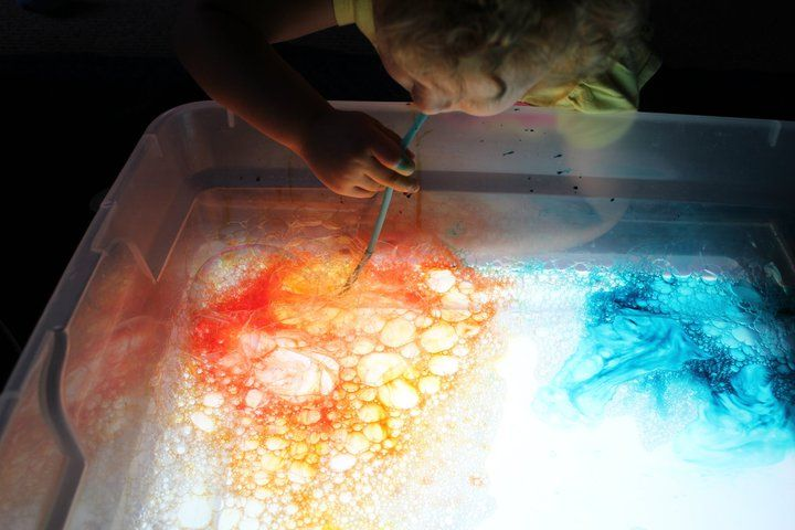 bubble blow solution and liquid watercolors on a light box. Can pour solution back into bottle when done. Just add kids and straws.