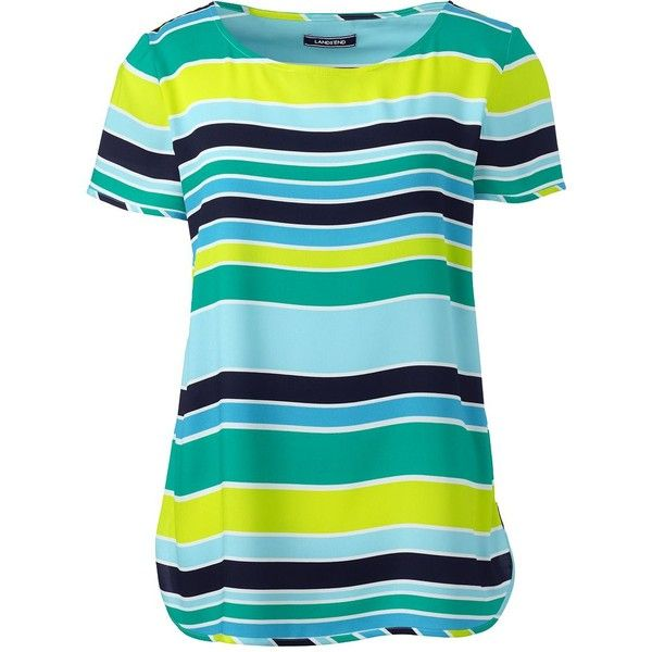 Lands' End Women's Petite Short Sleeve Crepe Tee ($69) ❤ liked on Polyvore featuring tops, t-shirts, green, short sleeve t shirt, crepe top, blue tee, blue green tops and blue short sleeve top