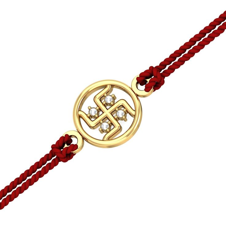 Gold Swastika Rakhi -- The perfect rakhi for your sweet brother, made of pure gold and crafted skilfully. This gold rakhi ships in an attractive gift box along with the rakhi thread. At the centre of the swastika, 4 dots have been polished in white to appear like diamonds. - See more at: https://www.kuberbox.com/gold-swastika-rakhi.html#sthash.WNzerJmf.dpuf