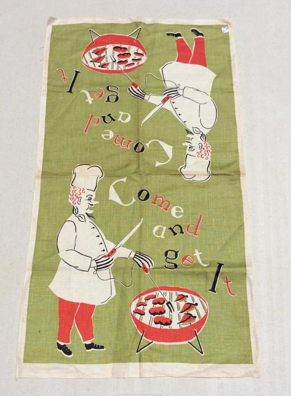 Hey, I found this really awesome Etsy listing at https://www.etsy.com/listing/527936242/vintage-towel-come-get-it-bbq-chef-works