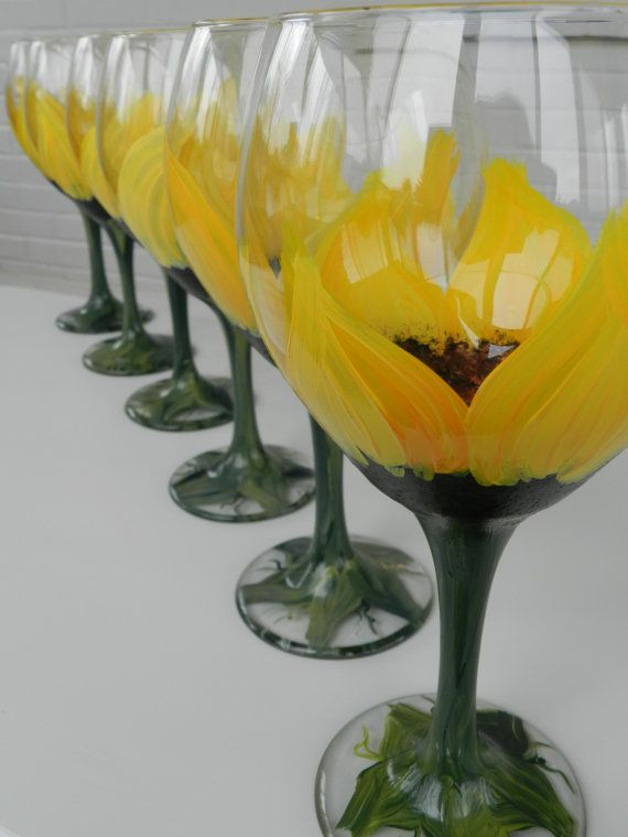 Hand Painted Wine Glasses  Hand Painted by BellaVetrobySamantha, $132.00