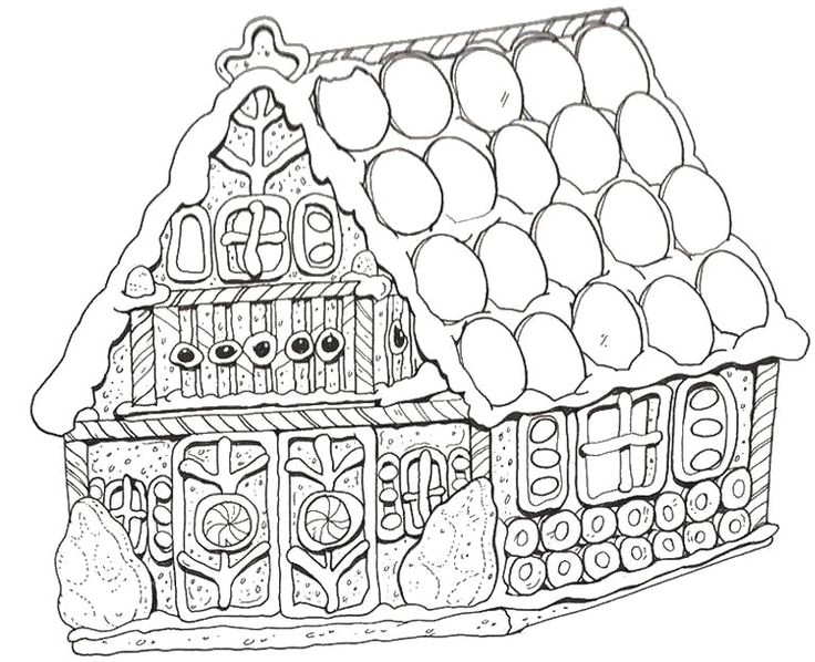 Printable Gingerbread House Coloring Pages Prints to