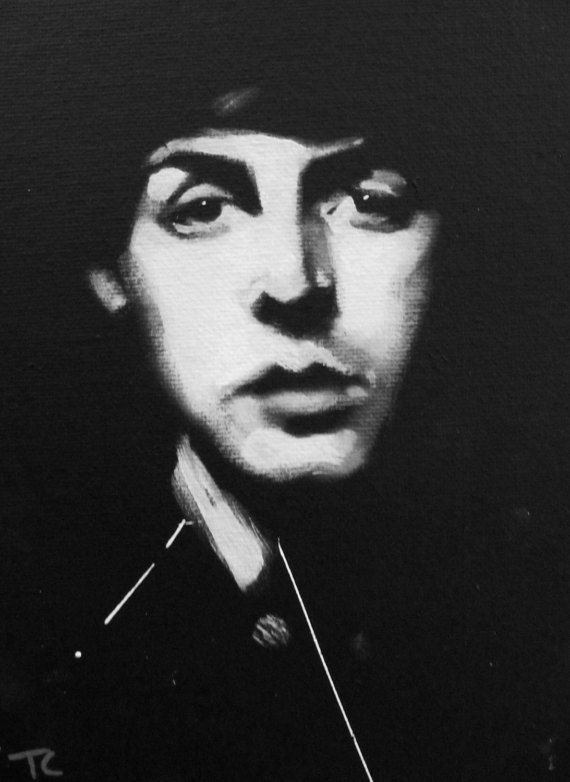 paul black white art portrait original painting the beatles paul mccartney all for the. Black Bedroom Furniture Sets. Home Design Ideas