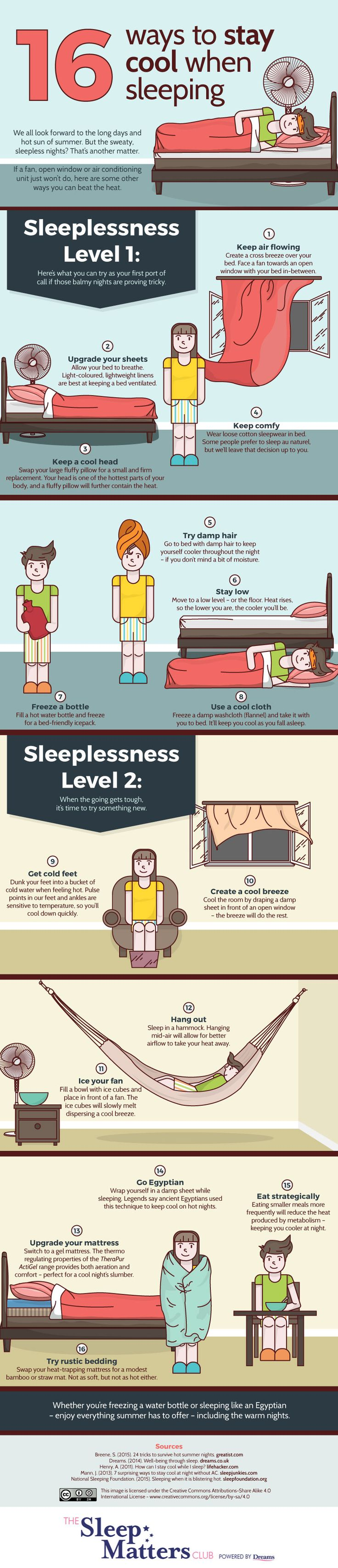 Here are 16 ways to stay cool at night. See this infographic and more at http://www.dreams.co.uk/sleep-matters-club