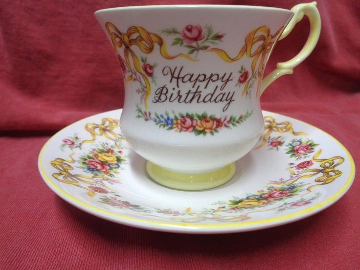 "Happy Birthday Queens Rosina Tea Cup And Saucer Bone China Made In England Vtg FOR SALE • $15.99 • See Photos! This is a very nice set from a family members estate. It has been in a display case for many years. No damage. The saucer measures, 5 6/8 "" The 122783322656"