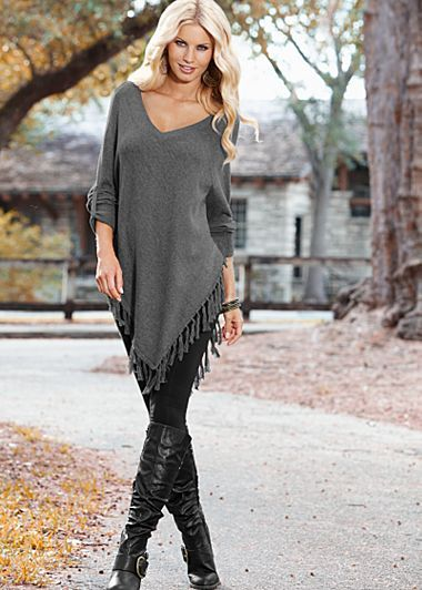 Fringe Sweater Poncho $32  You'll have fashionable fun living on the fringe in this chic poncho. ·  Exaggerated V-neck   ·  Long sleeves with tabs   ·  Cotton/Acrylic   ·  Imported   · Style #Z27184