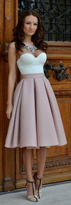 #summer #blush #pink #outfitideas | Blush Box Pleated Midi A-skirt + White Strapless Bodysuit