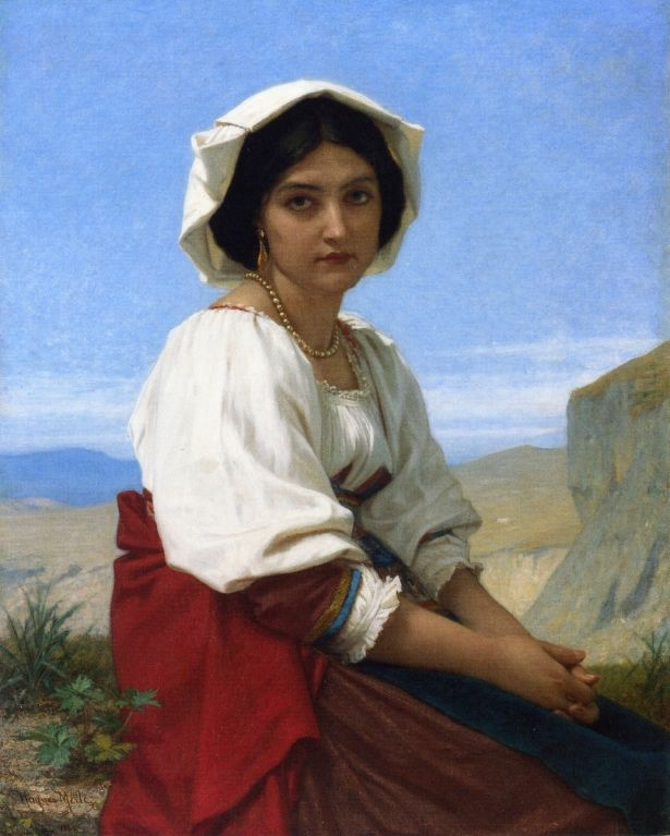 "Hugues Merle: ""Italian Maid"", 1863, oil on canvas, 	Height: 92 cm (36.22 in.), Width: 74.2 cm (29.21 in.), Private collection."