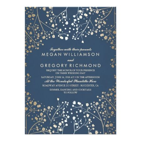 Gold and Navy Baby's Breath Floral Modern Wedding Card - tap, personalize, buy right now!