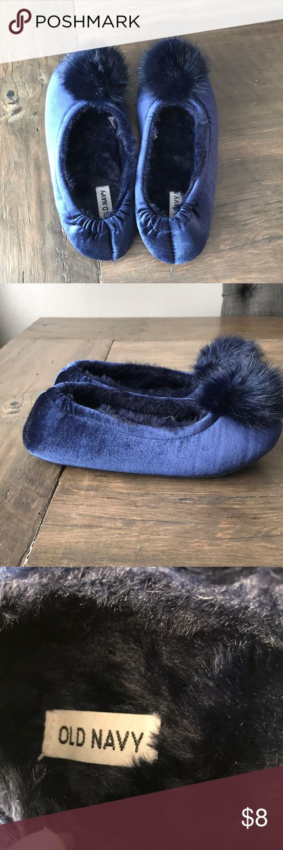 Old Navy house slippers Super cute velvet house slippers. Navy blue with fuzzy ball detail on toes. Size 9 only worn twice Old Navy Shoes Slippers
