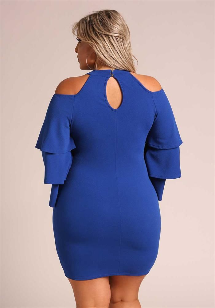 Plus Size Clothing | Plus Size Tiered Bell Sleeve Cut Out Bodycon Dress | Debshops