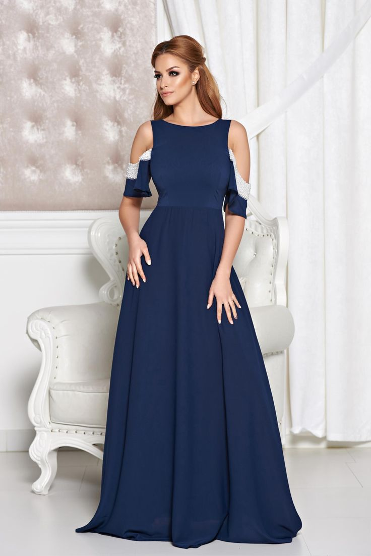 StarShinerS Attractive Look DarkBlue Dress, small beads embellished details, inside lining, back zipper fastening, nonelastic fabric, Veil