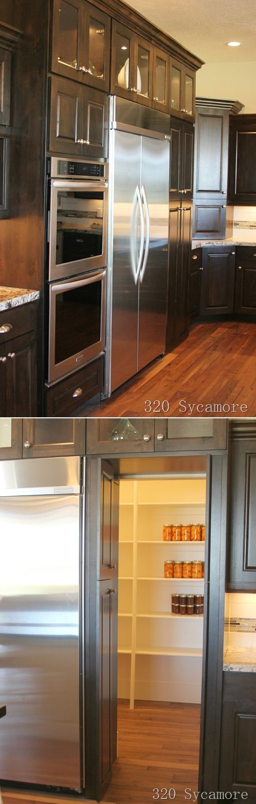 The door past the fridge looked like cabinets, but it opened up into a pantry behind allowing the fridge to be flush with everything else --- love that idea!