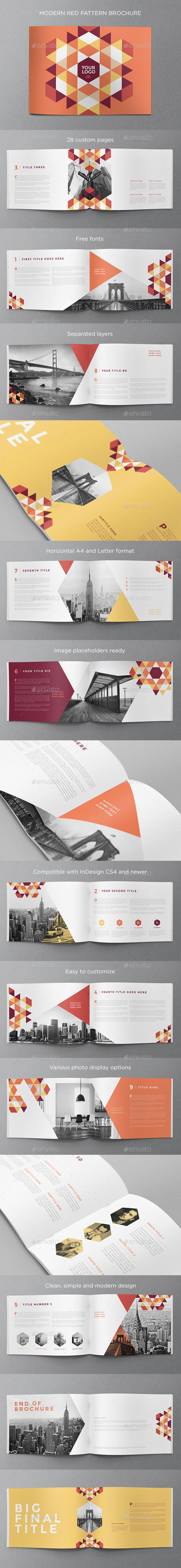 Modern Red Pattern Brochure — InDesign INDD #white #clean • Available here → https://graphicriver.net/item/modern-red-pattern-brochure/11973823?ref=pxcr