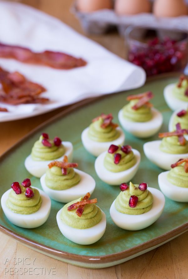Easy Avocado Deviled Eggs topped with bacon. OMG! I've died and gone to heaven. Must.Try.Now. #Avocadofanatic