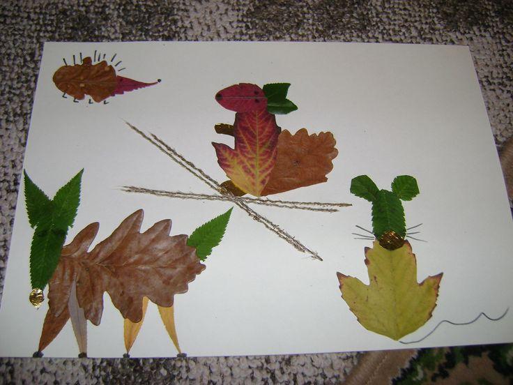 Levelekből (préselt ill friss) +csoki papírból állatkák (ősz)