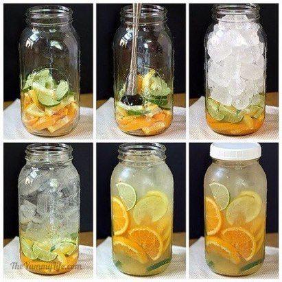 Цитрусовая вода На 2 литра воды: нарезаем половинками кружочков 1 апельсин, 1 лайм, 1 лимон. Кладём в банку, немного разминаем, чтобы фрукты дали сок, но не превратились в кашу. Заполняем банку льдом, доливаем водой до края. Аккуратно перемешиваем ручкой ложки. Закрываем крышкой, ставим в холодильник или просто в прохладное место. Можно пить сразу, но аромат станет более насыщенным через 1–2 часа, а ещё более полный вкус напиток приобретёт через сутки. Даже до следующего дня лёд может раст