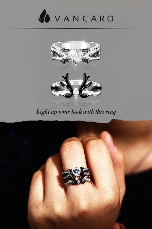 1b8670c5bc Crown Shaped Black Deer Antler Ring Set With Heart Stone in 2019 | VANCARO  Jewelry | Deer antler ring, Antler ring, Jewelry