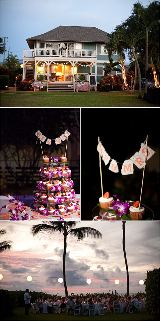 I think I have pinned this before, but. I don't care(: I love the cupcakes and the hawaiian themed reception!