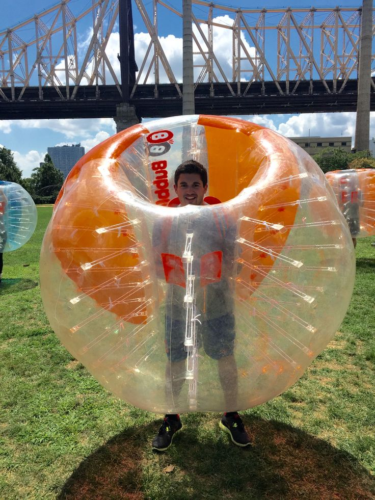 NYC Field Day: Matt from team grey gearing up for Bubble Ball.