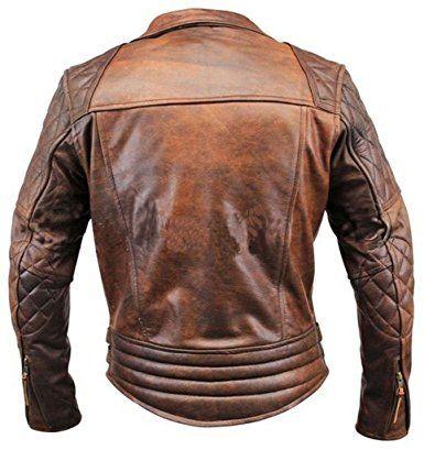 Leather Hub Mens Lambskin Leather Bomber Biker Leather Jacket