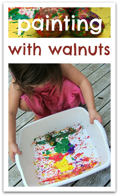 Painting in a bin or shallow box by rolling objects around (paper in bottom with some paint blobbed on it). Marbles, balls, buckeyes, walnuts, toy cars, etc. Objects have to be heavy enough (and paint thin enough) so they keep rolling and don't get stuck in the paint.