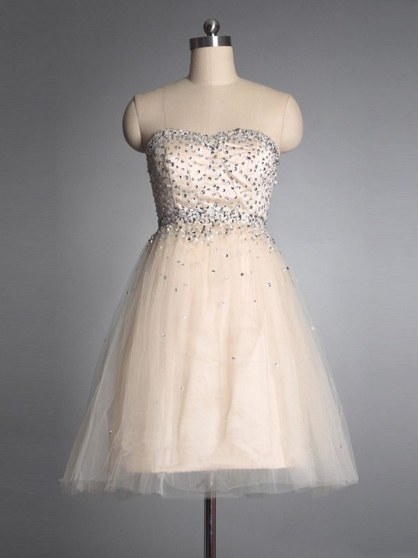 2015 Sleeveless Tulle Beading Strapless Zipper Short Length Homecoming / Cocktail / Formal Dresses TBQP053
