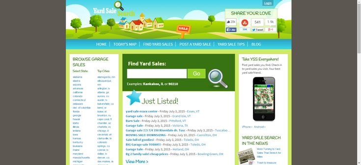 Use Yard Sale Search to find a sale in all fifty states (nice for when you're out of town), or post a garage sale online in your local area for more exposure. You can filter your sale search by area, keyword, and date. In addition to posted garage sales in all 50 states, this site also posts handy tips for finding the best deals: