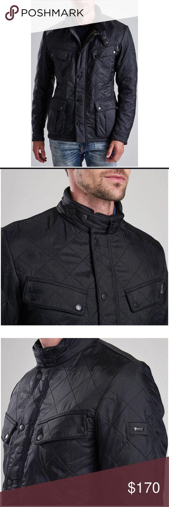 Men's Barbour Int'l Ariel Polarquilt Jacket Men's Slim-fit Jacket. Black. Medium sized. Never been worn. Ordered online and was too tight that's why we're selling. Nice moto-style throat strap and big pockets. Stylish. Warm. Sophisticated. Barbour Jackets & Coats