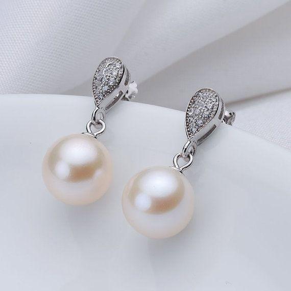 bridal pearl earrings,wedding pearl earrings,freshwater pearl earings,dangling pearl earring,white pearl earring stud,pearl hanging earrings on Etsy, $45.00