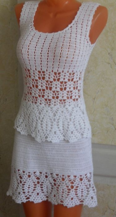 crochet ensemble top + skirt - maybe use skirt's stitch patterns also for the top ?: