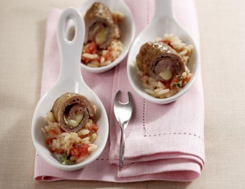 Raffinierte Kalbsrouladen mit Tomatenreis - Rezept - ichkoche.at