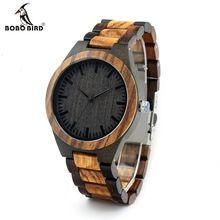 BOBO BIRD Men's Walnut and Ebony Wooden Watch with All Wood Strap Quartz Analog with Quality Miyota Movement(China (Mainland))