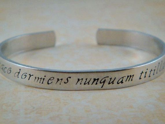 Harry Potter Jewelry / Hogwarts Motto Bracelet / Hogwarts Jewelry / Handstamped Aluminum Cuff / Never Tickle a Sleeping Dragon black and thin