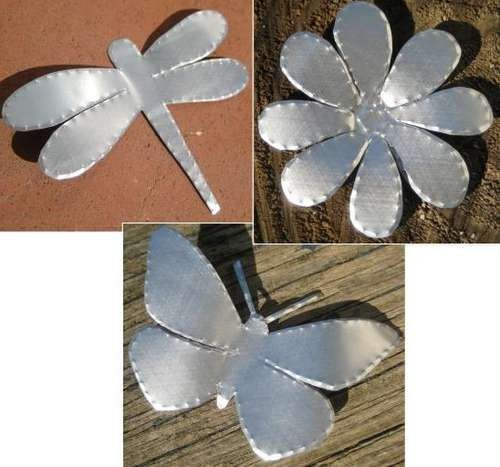 Recycled Alu Can Flowers, Butterflies & Dragonflies to create into Mobiles and to Cheer up Evergreens