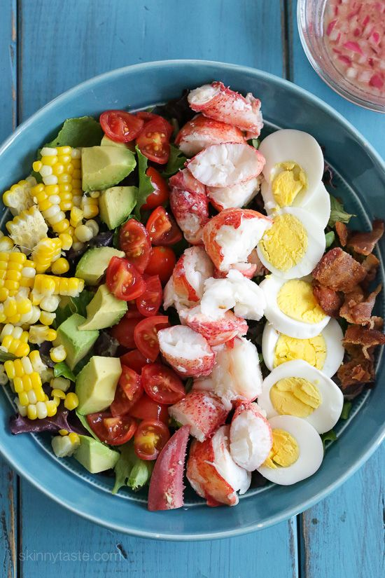 A classic Cobb salad with a light summer twist. If you live on the coast like me and have access to fresh lobster, this salad is a must! If you're worried about cooking a live lobster, many seafood stores will steam it for you. Crab or shrimp would also make an excellent substitution.