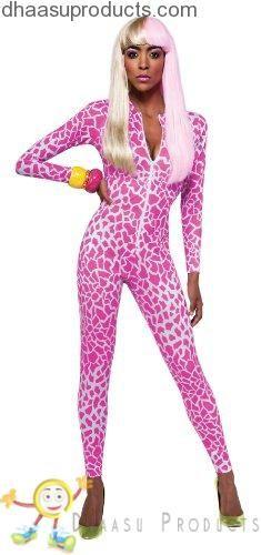 Rubie's Costume Nicki Minaj Collection Giraffe Print Jumpsuit, Pink/White, Small - Halloween costumes