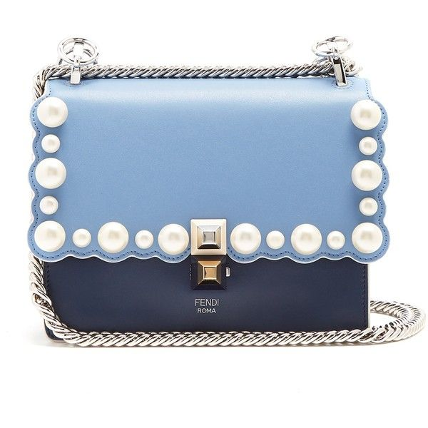 Fendi Kan I small embellished leather cross-body bag (135.435 RUB) ❤ liked on Polyvore featuring bags, handbags, shoulder bags, light blue, crossbody purse, leather cross body purse, leather shoulder handbags, leather handbags and leather purse
