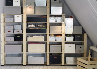 IKEA GORM shelves and containers in an attic