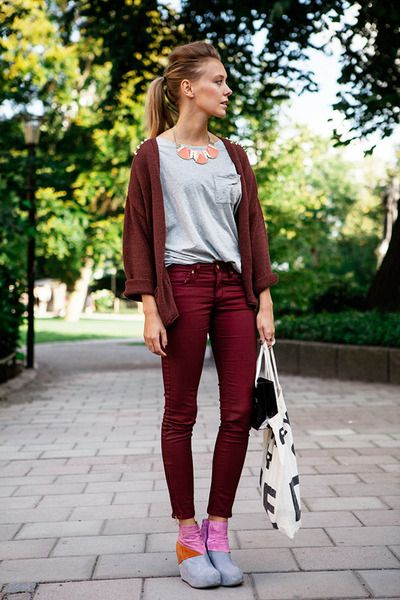 Studded cardigan, t-shirt, and coral necklace